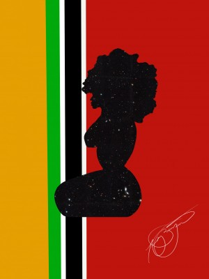 Afrocentric Woman Silhouette- African Flag by Afrocentric Painter