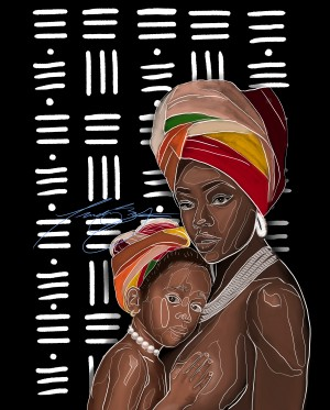 African Motherhood by Afrocentric Painter