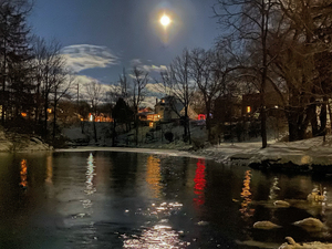 Wolf Moon Over The Mill Dam by Amber Vee Photography
