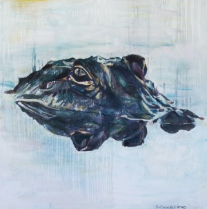 Louisiana Alligator with His Reflection in the Swamp by Caroline Youngblood