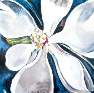 Square Magnolia with Sapphire Blue by Caroline Youngblood