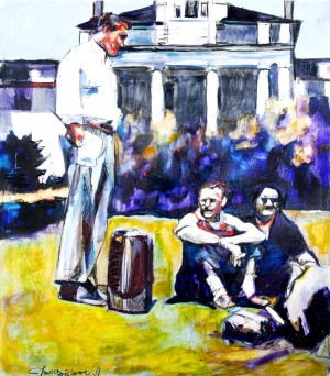 Louisiana Suitcases on the Lawn 1954 by Caroline Youngblood