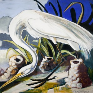 Louisiana Great Egret with Crawfish Piles by Caroline Youngblood