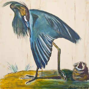 Louisiana Blue Heron Showing Wing Study on wood by Caroline Youngblood