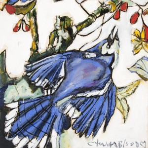 Louisiana Blue Jay Study on Wood by Caroline Youngblood