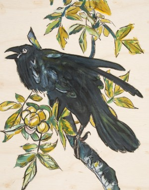 Louisiana Blackbird with Peaches on Wood Panel by Caroline Youngblood