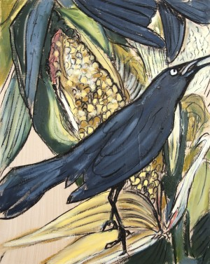 Louisiana Grackle with Corn Study on Wood by Caroline Youngblood