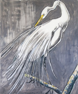 Louisiana Great White Egret Out-on-a-Limb with Metallic Silver by Caroline Youngblood