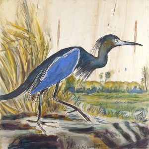 Little Louisiana Blue Heron on Wood by Caroline Youngblood