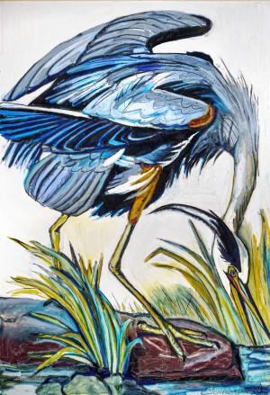 Louisiana Blue Heron Catching Fish- Dark by Caroline Youngblood