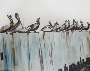 Louisiana Pelicans on the Pier by Caroline Youngblood