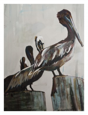 Louisiana Pelicans in the Fog  by Caroline Youngblood