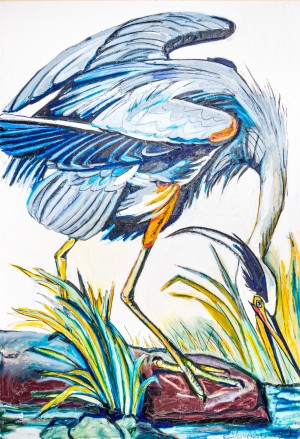 Louisiana Blue Heron Catching Fish- Bright by Caroline Youngblood