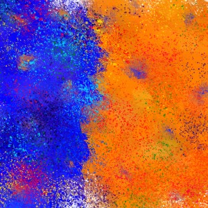 Seisnahorra - orange and blue balanced freedom by Cersatti Art