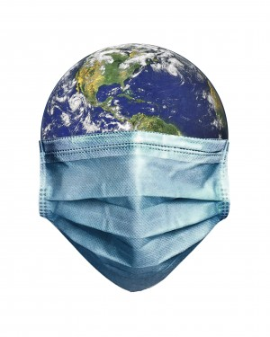 Earth With Face Mask Pandemic Concept Poster by Daniel Ferreia Leites Ciccarino