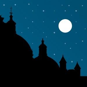 Silhouette Night Scene Cityscape Illustration by Daniel Ferreia Leites Ciccarino
