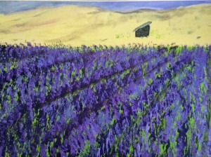 Purple Lavender fields painting by Darryl Green