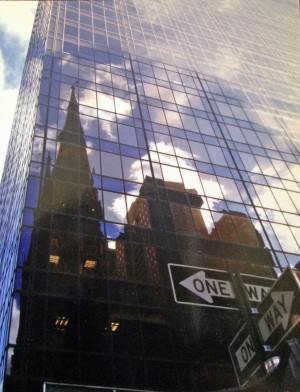 One Way Signs Church Reflect In Glass Skyscraper by Darryl Green