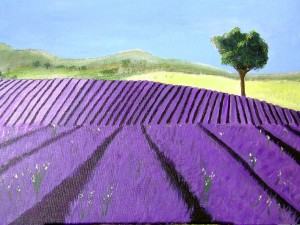 Purple Lavender Field Painting by Darryl Green