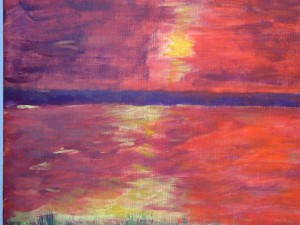 Red Abstract Sunset by Darryl Green
