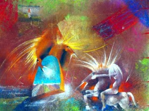 Fight of Dragon Horses by David Berkowitz Chicago