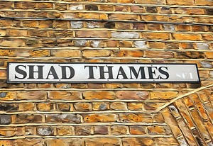 Shad Thames Street Sign Brown Brick by Dorothy Berry-Lound