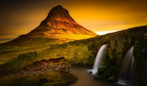 Waterfall at sunset by DroneVue360