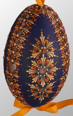 Handcrafted and decorated dark blue Goose Egg by Blanka Vaňová Slovakia  by Edwin John