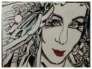 Cher – 11″ x 14″ Canvas by GG Bailey Artwork 48