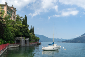 Charismatic Varenna Lake Como Italy - Boats Moored by the Lovers Promenade by GeorgiaM