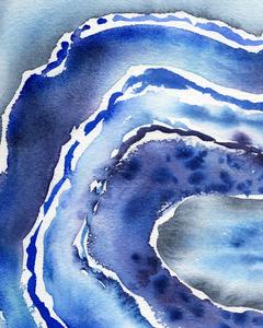 Blue Agate Wave Watercolor Abstract  by Irina Sztukowski