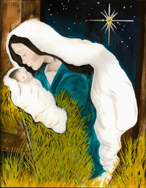 Unto us a Child is Born - Mary and Baby Jesus by Jan Kornegay Dappen