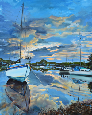 Nestled in for the Night at Mylor Bridge by Jan Kornegay Dappen