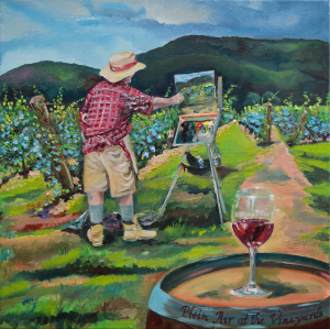 We Paint with Wine- Plein Air in the Vineyard by Jan Kornegay Dappen