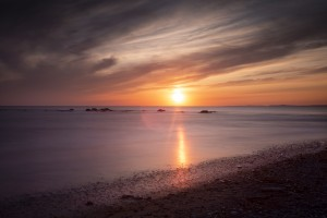 Sker Beach sunset by Leighton Collins