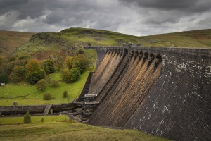 The Claerwen reservoir dam in Powys by Leighton Collins