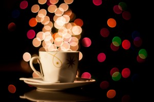 Christmas background with cup of tea by Levente Bodo