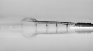 Seal Island Bridge in fog by Michel Soucy