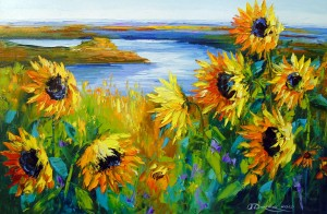 Sunflowers in the wind by the river by Olha Darchuk