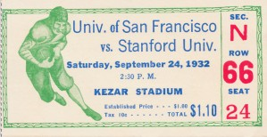 1932 San Francisco vs. Stanford Ticket Art by Row One Brand