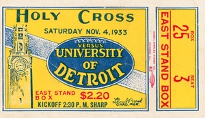 1933 Detroit Titans Football Ticket Canvas by Row One Brand