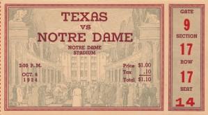 1934  Texas vs. Notre Dame by Row One Brand