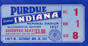 1937 Indiana vs. Purdue Ticket Stub Art by Row One Brand