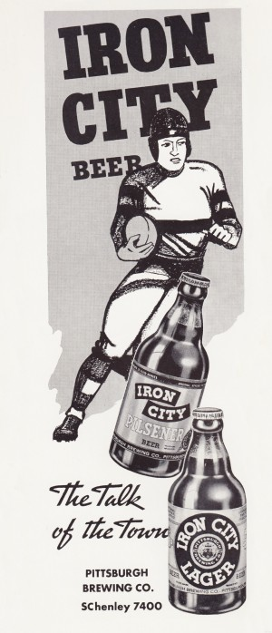 1937 Iron City Beer Vintage Football Ad by Row One Brand