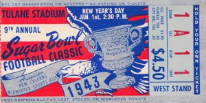 1943 Sugar Bowl Tennessee vs. Tulsa by Row One Brand