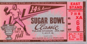 1948 Sugar Bowl Ticket Art Texas Win by Row One Brand