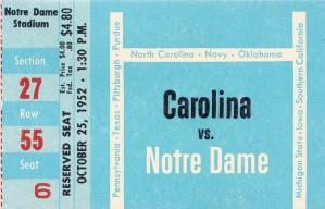 1952 north carolina tar heels notre dame irish college football sports ticket art south bend indiana by Row One Brand
