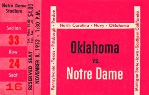 1952 Oklahoma vs. Notre Dame 1st National TV Game by Row One Brand