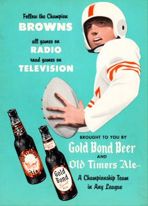 1955 Cleveland Browns Gold Bond Beer Ad by Row One Brand