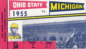 1955 Michigan vs. Ohio State Football Ticket Art by Row One Brand